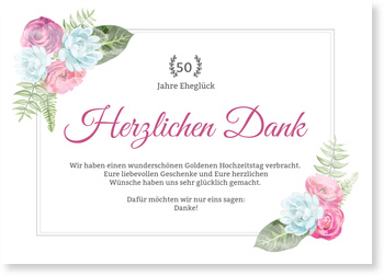 Dankeskarten Goldenen Hochzeit, Blüten