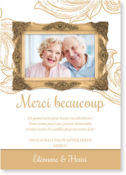 Bien-aimé Carte remerciement noces d'or | bonnyprints.fr VM31