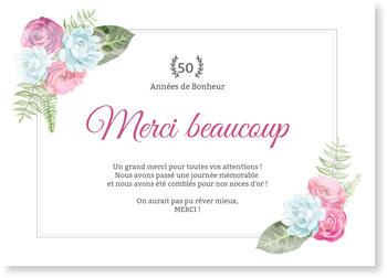 Carte Remerciement Noces D Or Bonnyprints Fr