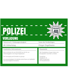 Polizeiliche Vorladung in Grün