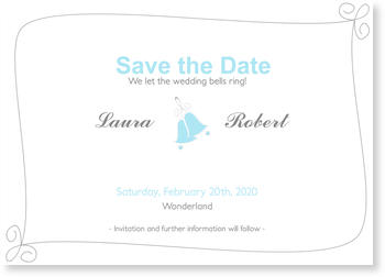 Save the Date Cards for your Wedding Day,  Save the Date - Wedding Bells Blue