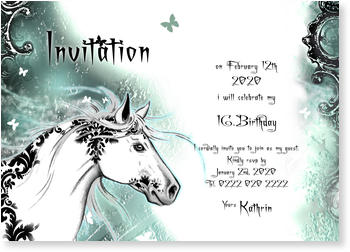 Birthday Invitations for Teenagers, Magic White Horse