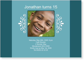 Birthday Invitations for Teenagers, Invitation for a Boy
