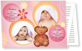 Twin Birth Announcement Cards for double joy, Teddy & Friends