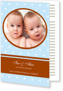 Twin Birth Announcement Cards for double joy, Twice the Luck Boy