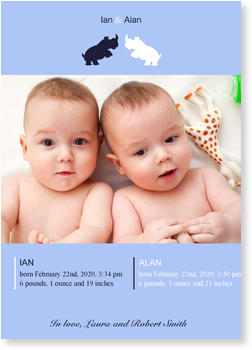 Twin Birth Announcement Cards for double joy, Two Rhinos