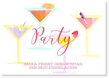Einladungskarten Party, Cocktail Party