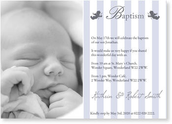 Christening Invitations – personalise with pictures, Baptism with Two Angels in Blue