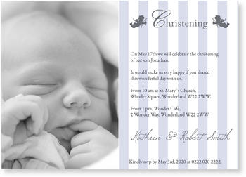 Christening Invitations – personalise with pictures, Christening with Two Angels in Blue