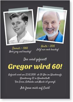 Einladungskarten 60. Geburtstag, Damals Und Heute