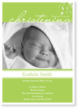 Christening Invitations – personalise with pictures, My Christening - Green
