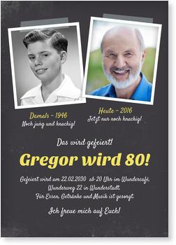Einladungskarten 80. Geburtstag, Damals Und Heute
