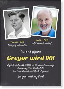 Einladungskarten 90. Geburtstag, Damals Und Heute