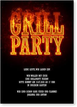 Einladungskarten Sommerfest, Feurige Grillparty