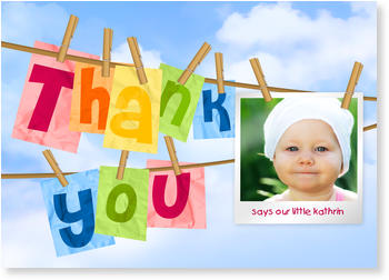 Personalised Thank You Cards, thank you for, Thank you - Washingline