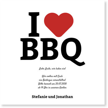 Einladungskarten Party, I love BBQ
