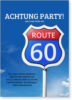 Einladungskarten 60. Geburtstag, Route 60