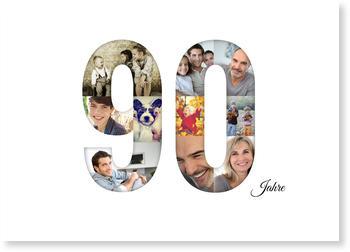 Einladungskarten 90. Geburtstag, Bildreiche Neunzig