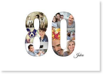 Einladungskarten 80. Geburtstag, Bildreiche Achtzig
