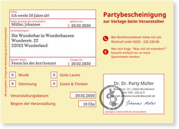Geburtstagseinladungen, Partybescheinigung