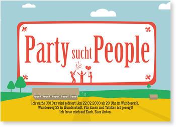 Einladungskarten 30. Geburtstag | Lieferzeit 1 2 Werktage, Party Sucht  People