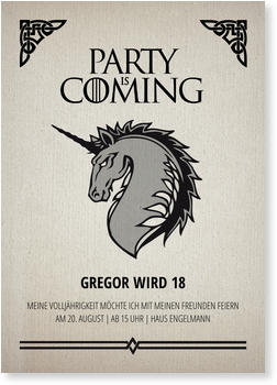 Einladungskarten 18. Geburtstag, PARTY Is COMING