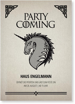 Einladungskarten Party, PARTY is COMING