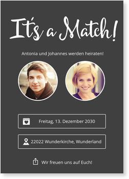 Einladungskarten Hochzeit, It´s A Match
