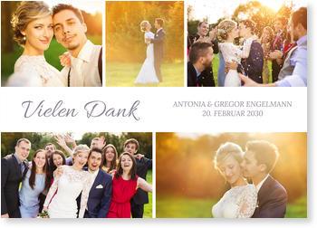 Dankeskarten Hochzeit, Collage Quer