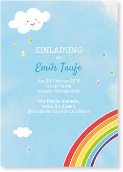 Einladungskarten Taufe, Kleiner Regenbogen