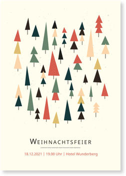 Einladung Weihnachtsfeier, Tannenwald