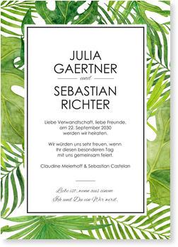 Einladungskarten Hochzeit, Grüne Blätter