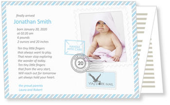 Photo Birth Announcements for Boys – share the news, via Storkmail