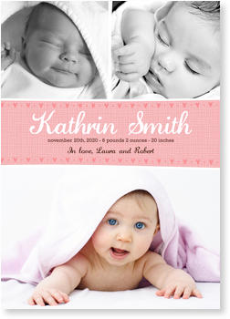 Baby Photo Cards – a fab presentation of your little one, Line of Hearts Rose