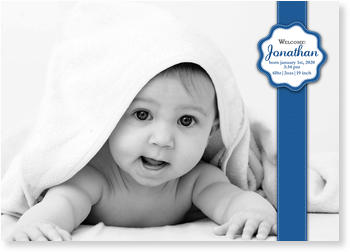 Photo Birth Announcements for Boys – share the news, Stiched Sticker Blue