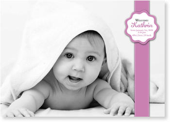 Photo Birth Announcements for Girls – pretty in pink, Stiched Sticker Pink