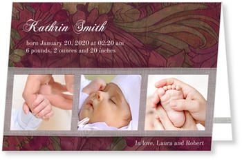 Baby Photo Cards – a fab presentation of your little one, Purple Potpourri
