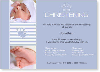 Christening Invitations – personalise with pictures, Little Crown
