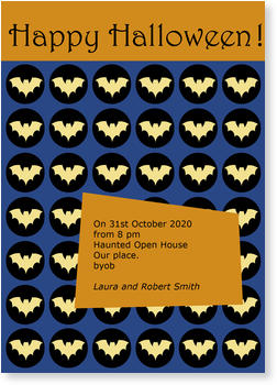 >Halloween Party Invitations for a spooky celebration, Bat Confetti