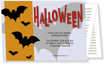 >Halloween Party Invitations for a spooky celebration, Dance Of The Bats
