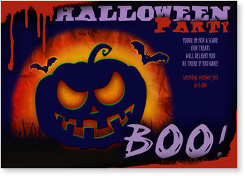 >Halloween Party Invitations for a spooky celebration, Scary Pumpkin