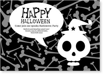 >Halloween Party Invitations for a spooky celebration, Skull and Bones
