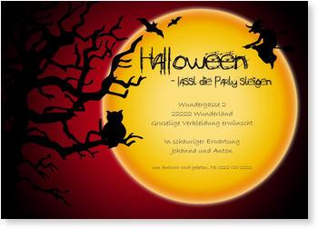 Halloween Einladungskarten , Großer Mond