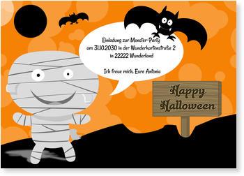 Schön Einladungskarten Halloween , Kleine Mumie Mit Fledermaus