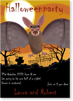 >Halloween Party Invitations for a spooky celebration, Big Bad Bat!