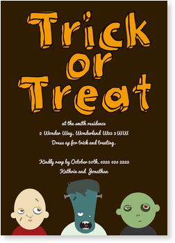 >Halloween Party Invitations for a spooky celebration, Trick or Treaters
