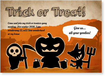 >Halloween Party Invitations for a spooky celebration, Trio of Terror