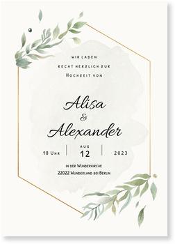 Goldener Rahmen Einladungskarten Hochzeit