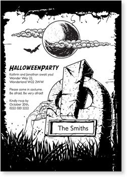 >Halloween Party Invitations for a spooky celebration, Halloween Tombstone