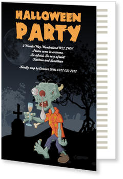 >Halloween Party Invitations for a spooky celebration, Zombie Party